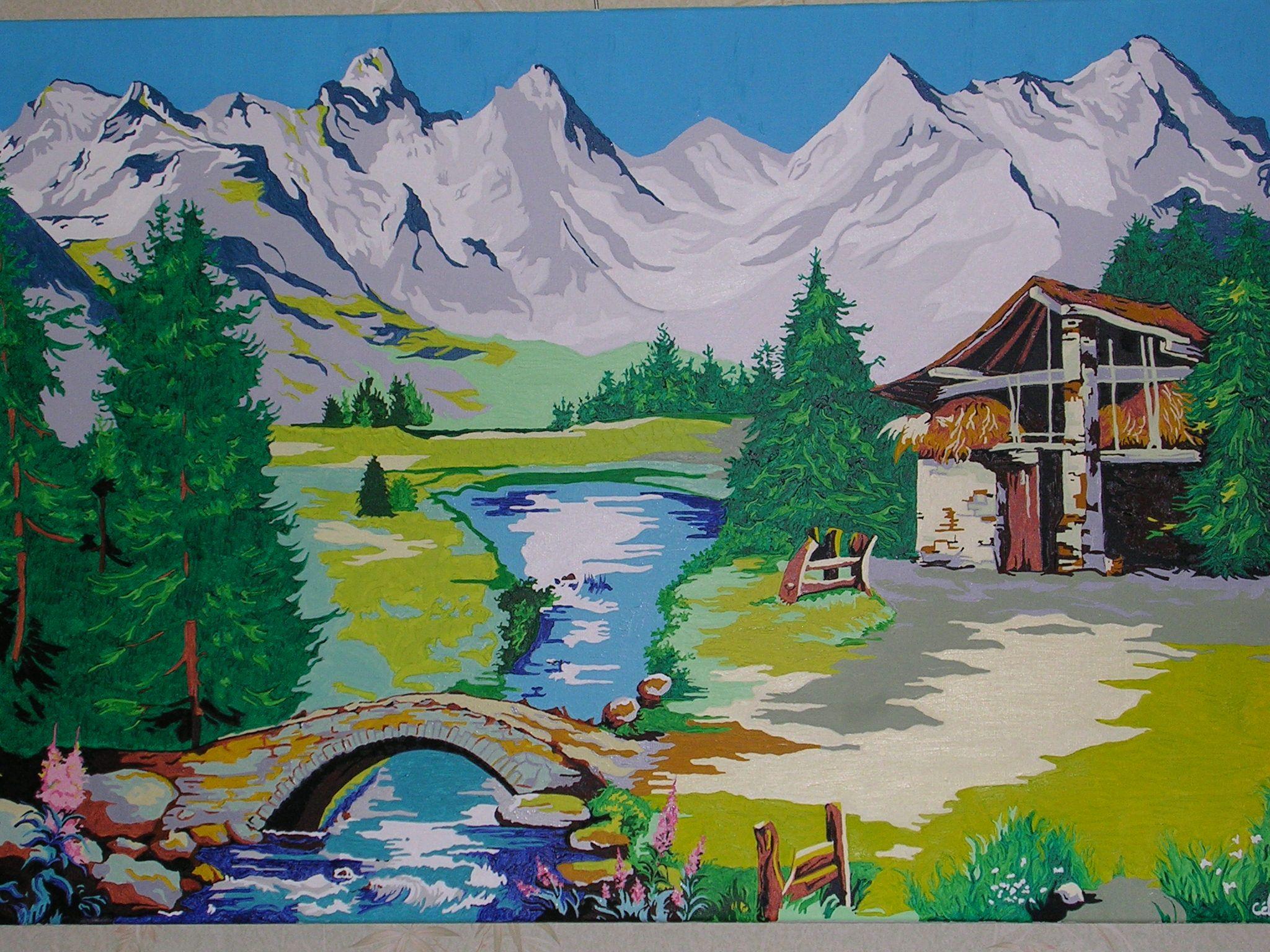 Nature scenery paysage de montagne en peinture for Paysage peinture